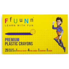 FUN Plastic Crayons - Pack of 25 Shades