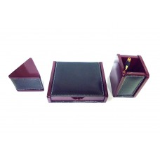 Leather Table set-wooden paper weight, pen stand & slip box