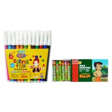 Combo - Luxor Sketch Pens & Camel Wax Crayons