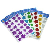 Glitter Flower Stickers - pack of 10