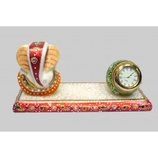 Marble Ganesh Ji with round clock-hand carving and painting