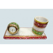 Marble Pen Stand with watch-hand carving and painting