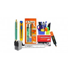 Combo - Pen Stand + Pen + Pencil + Sharpener + Eraser + Scale + Highlighter