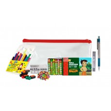 Combo - Stationery Pouch + Crayons + Pencil + Sharpener + Eraser + Scale + Sketch Pens