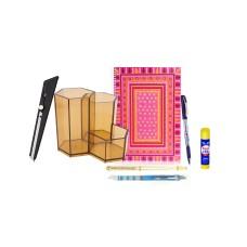 Combo - Pen Stand + Notepad + Glue Stick + Ball & Gel Pen + Pencil + Cutter