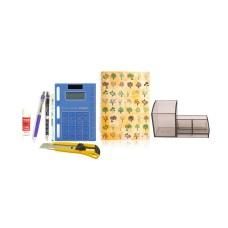 Combo - Pen Stand + Notepad + Glue Stick + Ball & Gel Pen + Pencil + Cutter + Calculator